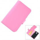 Stylish Flip Open PC + PU Case w/ Stand / Card Slots for Samsung Galaxy S5 - Pink