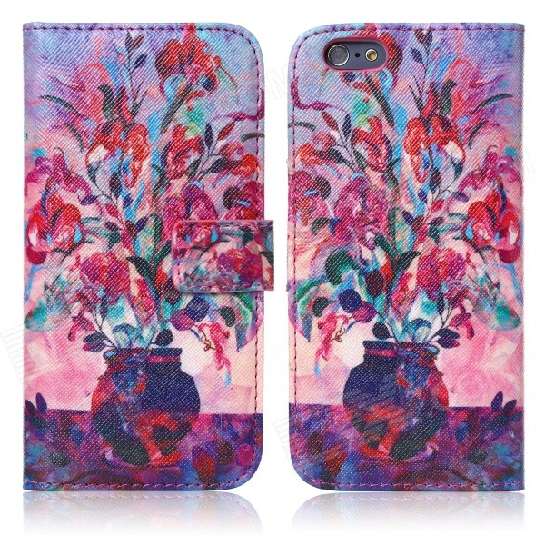 ENKAY Vase Oil Painting Style Flip Open PU + Silicone Case w/ Stand / Card Slots for IPHONE 6 4.7 protective flip open pu case w stand card slots for samsung galaxy s4 active i9295 black