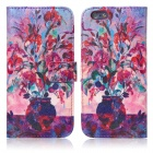 ENKAY Vase Oil Painting Style Flip Open PU + Silicone Case w/ Stand / Card Slots for IPHONE 6 4.7""
