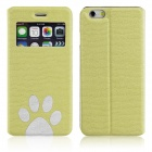 "ENKAY Footprint Pattern Protective PU Leather Case w/ Stand for IPHONE 6 4.7"" - Green"