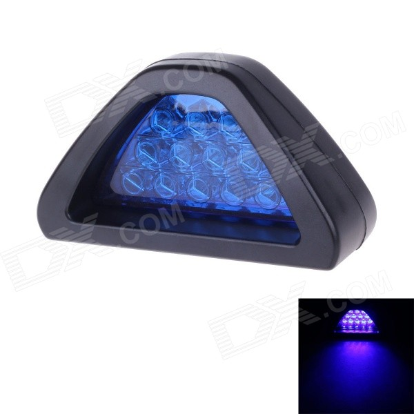 HY-3010 Universal 1W 150lm Waterproof Triangle Blue Light LED Brake Lamp Stoplight for Car - Blue