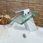 YDL-F0586 Chrome Finish Glass Spout Waterfall Bathroom Sink Faucet - Translucent Green + Silver