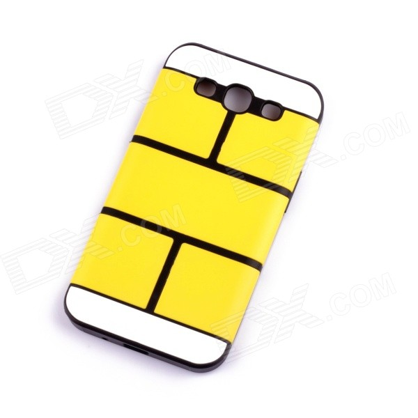 Jigsaw Pattern Protective TPU Back Case Cover for Samsung 9300/S3 - Yellow jigsaw pattern protective tpu back case cover for iphone 5 5s yellow