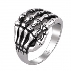 R005 Creative Retro Hand Skeleton Style 316L Stainless Steel Ring - Silver + Black (US Size: 8)