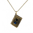 Three Creations Women's Fashion Retro Book & Hourglass Locket Necklace - Blue + Antique Bronze