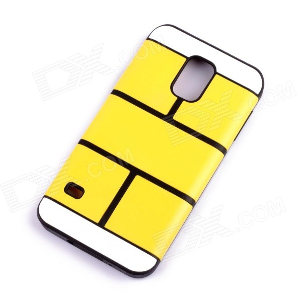 Jigsaw Pattern Protective TPU Back Case Cover for Samsung 9600/S5 - Yellow jigsaw pattern protective tpu back case cover for iphone 5 5s yellow