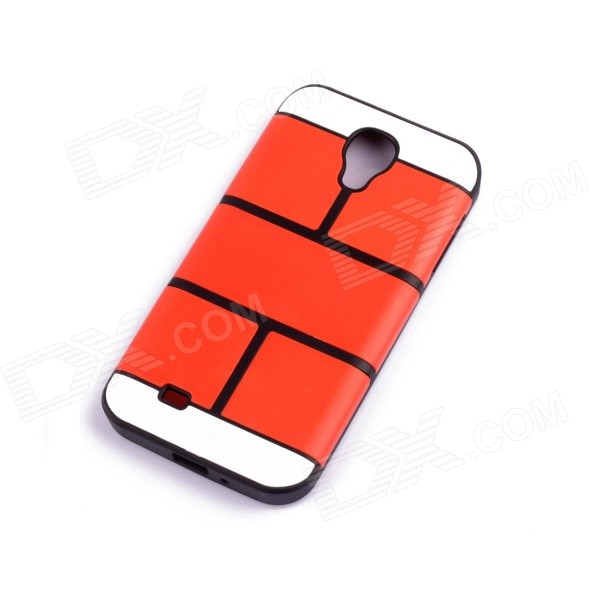 Jigsaw Pattern Protective TPU Back Case Cover for Samsung 9500/S4 - Red
