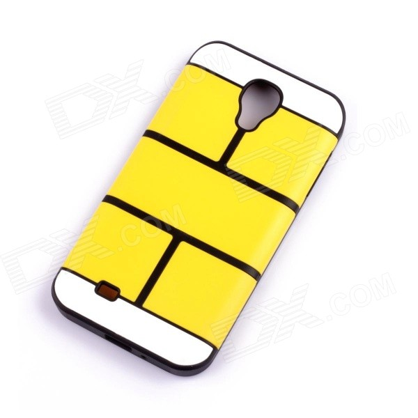 Jigsaw Pattern Protective TPU Back Case Cover for Samsung 9500/S4 - Yellow jigsaw pattern protective tpu back case cover for iphone 5 5s yellow