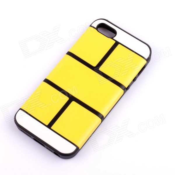 Jigsaw Pattern Protective TPU Back Case Cover for IPHONE 5 / 5S - Yellow jigsaw pattern protective tpu back case cover for iphone 5 5s yellow