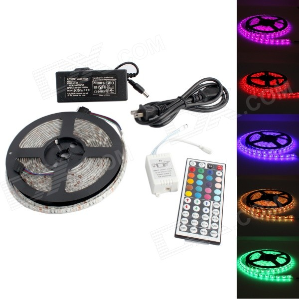 GC 72W 3000lm 300-SMD 5050 LED RGB Water-resistant Light Strip w/ 44-Key R/C - White (5M / DC 12V)