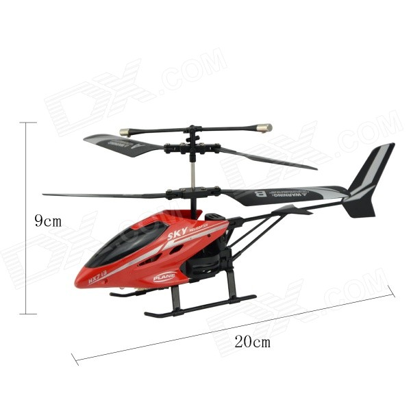 H2XD HX713 Rechargeable 27MHz IR Indoor 3-CH R/C Helicopter w/ Gyroscope - Black + Red + Multi-Color
