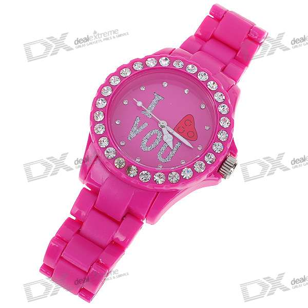 Crystal Fashion Wrist Watch - Charming Pink (1*377)