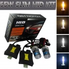 H1 55W 3158lm 10000K Brilliant Blue Car HID Xenon Lamps w/ Ballasts Kit - Black (Pair)