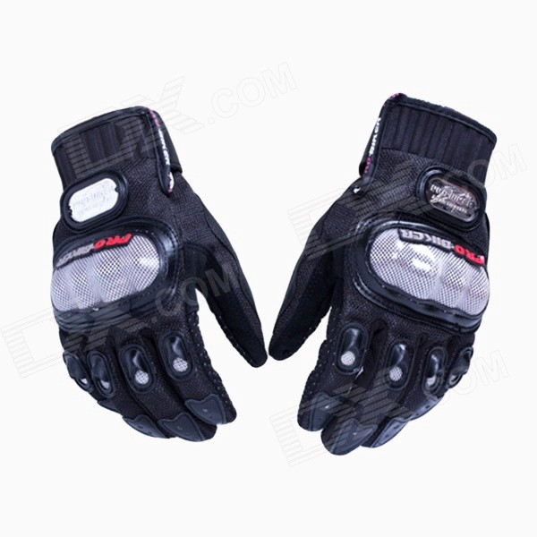 PRO-BIKER DXMS-02 Skid-Proof Full Finger Motorcycle Racing Gloves - Black (Pair / L)