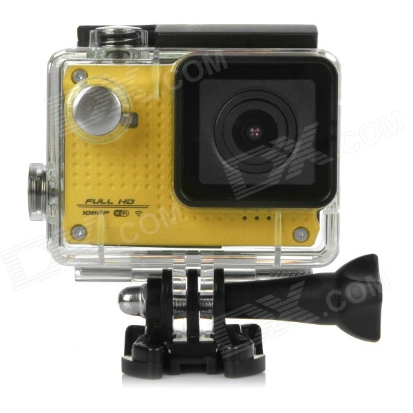 S30W Water Resistant 1.5 CCD 1080P HD 150' Wide-Angle Sports Camcorder w/ Wi-Fi - Yellow + Black s30w water resistant 1 5 ccd 1080p hd 150 wide angle sports camcorder w wi fi yellow black