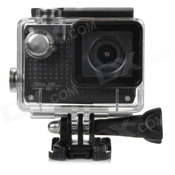 S30W Waterproof 1.5 TFT CCD 1080P HD 150' Wide-Angle Sports Camcorder w/ Wi-Fi - Black s30w water resistant 1 5 ccd 1080p hd 150 wide angle sports camcorder w wi fi yellow black