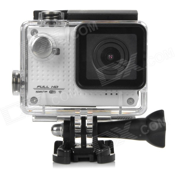 S30W Water Resistant 1.5 TFT CCD 1080P HD 150' Wide-Angle Sports Camcorder w/ Wi-Fi - White + Black s30w water resistant 1 5 ccd 1080p hd 150 wide angle sports camcorder w wi fi yellow black