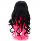 Women's Double Color Tilted Frisette Long Curly Wig - Black + Pink