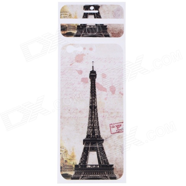Eiffel Tower Pattern Decorative PVC Back Protector Sticker for IPHONE 6 PLUS 5.5 - Brown + White