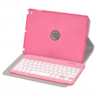 Portable Wireless Bluetooth v3.0 64-Key Keyboard w/ Flip-Open PU Case for IPAD 5 - Deep Pink