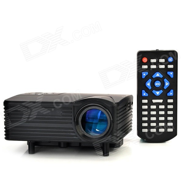 HX-100 Mini LED Home Projector w/ AV / VGA / SD / USB / HDMI + Remote Control - Black (EU Plug) mini led projector 800x400 1000 lumen home cinema theaters w wifi android os hdmi usb sd av vga 3 5mm black white