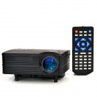 HX-100 Mini LED Home Projector w/ AV / VGA / SD / USB / HDMI + Remote Control - Black (EU Plug)
