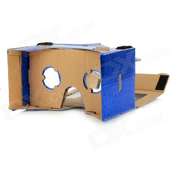 DIY Google Cardboard Virtual Reality 3D Glasses w/ NFC for 4~7 Cell Phone - Blue