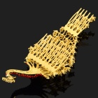 Women's Peacock Style Rhinestones Inlaid Hair Decorative Hairpin Comb - Golden + Red
