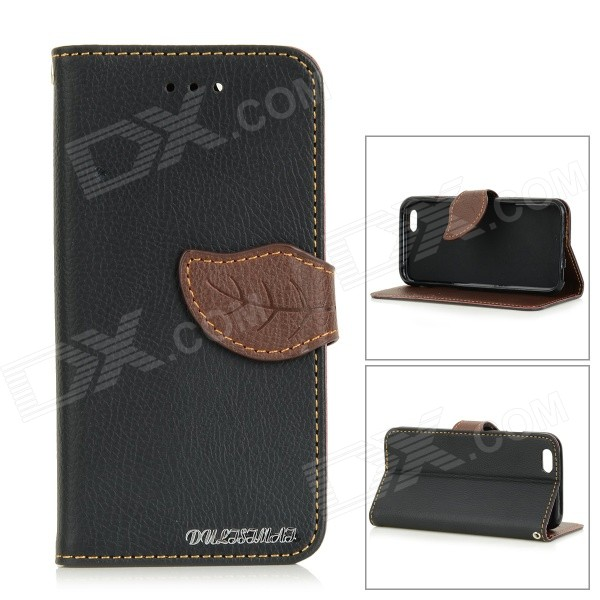 DULISIMAI Leaf Lichee Patterned Flip-Open PC + PU Leather Case for IPHONE 6 - Black + Light Brown dulisimai stylish flip open pu tpu case w stand card slots strap for lg g3 black brown