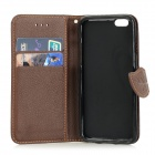 DULISIMAI Leaf Lichee Patterned Flip-Open PC + PU Leather Case for IPHONE 6 - Black + Light Brown
