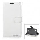 DULISIMAI Flip-Open PU + PC Case w/ Card Slot + Stand for Samsung Galaxy Note 4 - White + Black