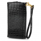 "Universal Alligator Grain Wallet Style PU Case w/ Card Slot / Strap for IPHONE / 5"" Cellphone"