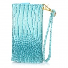 "Universal Alligator Grain Wallet Style PU Case w/ Card Slot for IPHONE / 5"" Cellphones - Blue"