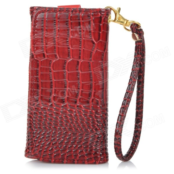 Universal Alligator Grain Wallet Style PU Case w/ Card Slot for IPHONE / 5 Cellphones - Red sldpj stylish ultra thin protective pu leather case cover w visual window for iphone 4 4s red