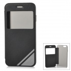 """USAMS Protective Flip-Open PU Case Cover w/ View Window for IPHONE 6 4.7"""" - Black"""