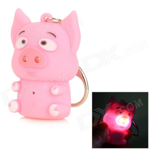 Cute Pig Style Keychain w/ White LED Light + Sound Effect - Pink + Black (3 x AG10) cute hippo style plastic key chain w led white light green 3 x ag10
