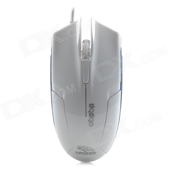 FC-5100 USB 2.0 Wired 1600dpi LED Optical Gaming Mouse - White + Blue fc 143 usb 2 0 wired 1600dpi led gaming mouse black cable 120cm
