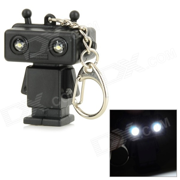 Robot Style Keychain w/ White LED Light + Sound Effect - Black (3 x AG10) dinosaur style led purple light keychain w sound effect green white 3 x ag10