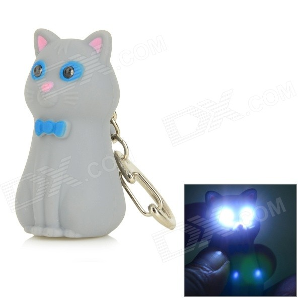Bowknot Cat Style Keychain w/ White LED Light + Sound Effect - Grey + Pink (3 x AG10)
