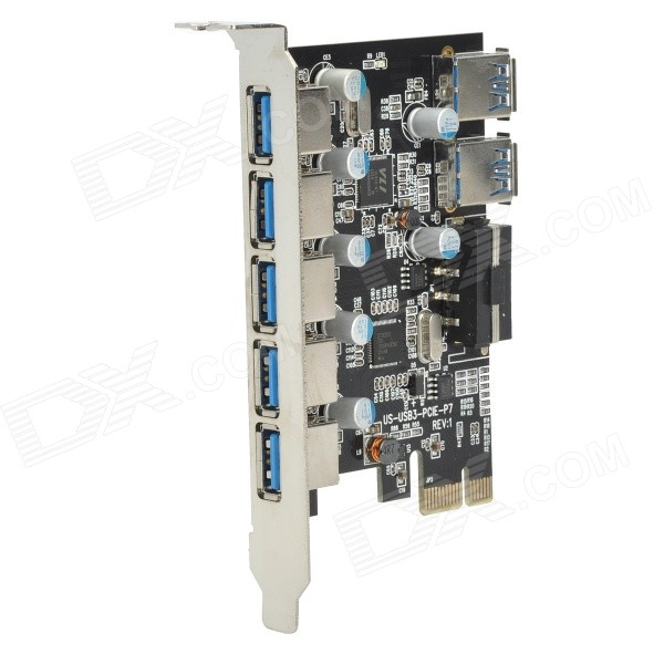 ULANSON PCIE 5-Port & 2 Rear USB 3.0 Expansion Card - Black 5 port usb 2 0 pci expansion card