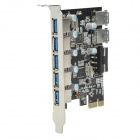 ULANSON PCIE 5-Port & 2 Rear USB 3.0 Expansion Card - Black