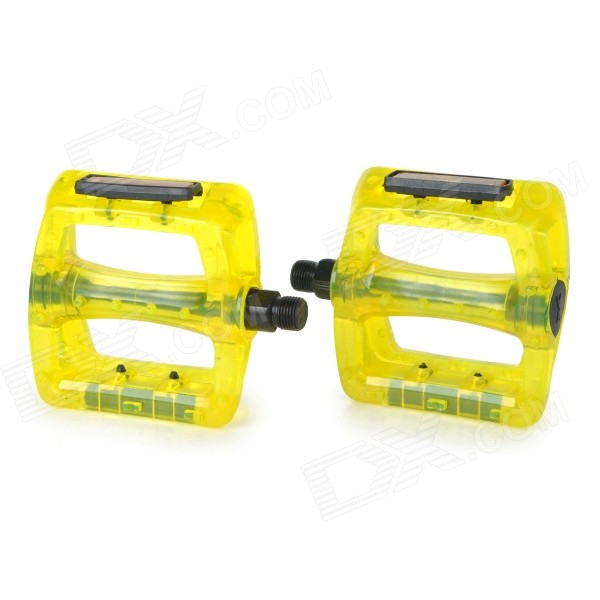 Mountain Bike Bicycle PC Pedals - Yellow + Translucent (2 PCS) mountain bike four perlin disc hubs 32 holes high quality lightweight flexible rotation bicycle hubs bzh002