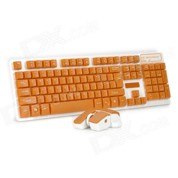 Fashion 2.4GHz Wireless Water Resistant Keyboard + Mouse Set - Orange + White