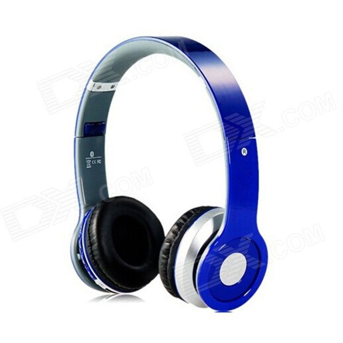 Foldable On-ear Wireless Stereo Bluetooth Headphones Headset Supports FM & TF Card Reader - Blue foldable on ear wireless stereo bluetooth headphones headset supports fm