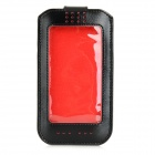Protective PU Leather Full Body Case Pouch for IPHONE 6 w/ Window / Card Slots - Black + Red