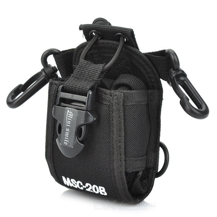 Nylon Cover Case w/ Buckle / Hooks + Triangle Strap for BaoFeng UV-5R / UV-5RA + More - Black