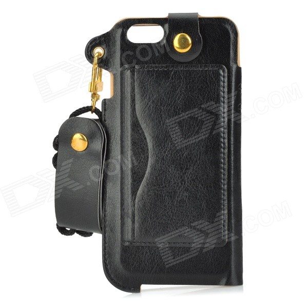 Protective PU Case w/ Strap / Card Slot / Stand for IPHONE 6 4.7 - Black protective pu case w stand strap for iphone 5 5s black