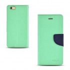 "Angibabe Cross Pattern PU Leather Flip Open Case w/ Card Slot for IPHONE 6 4.7"" - Light Green"