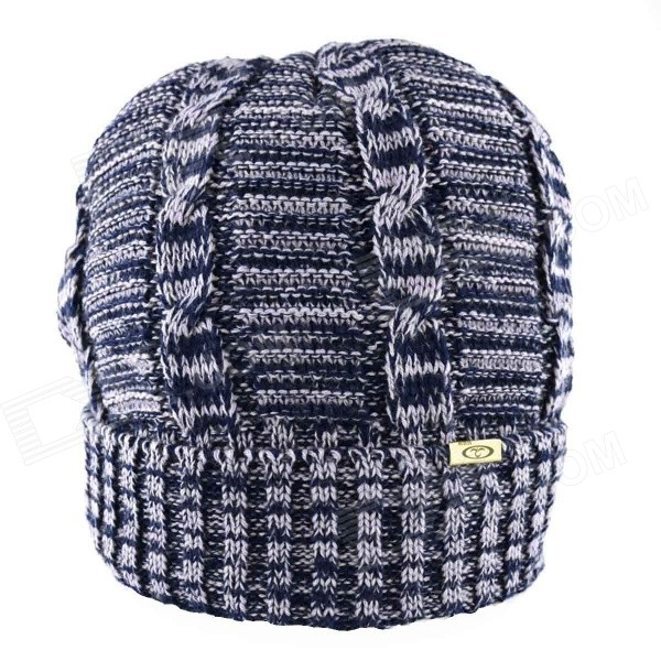OUMILY Men's Outdoor Casual Warm Keeping Woolen Hat - Dark Blue + Grey warm keeping woolen yarn hat w mouth mask black grey