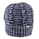 OUMILY Men's Outdoor Casual Warm Keeping Woolen Hat - Dark Blue + Grey